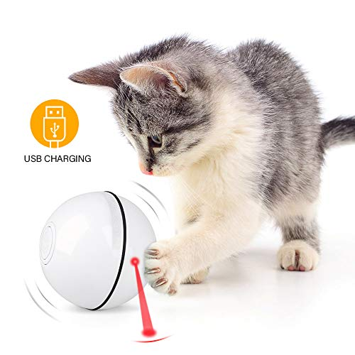 Unibelin Smart Interactive Cat Toy Ball- Pet Toy Self Rotation Rolling Ball USB Rechargeable Cat Light Toy Built-in LED…