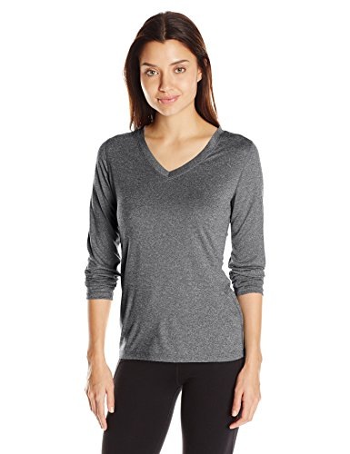 (Hanes Women's Sport Cool Dri Performance Long Sleeve V-Neck Tee, Black Heather, X Large)