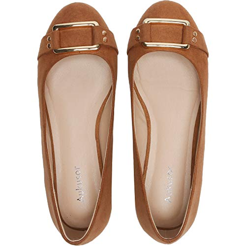 (Aukusor Women's Wide Width Ballet Flat - Cozy Round Toe Slip On Flat Shoes.(Brown 181033,9W))