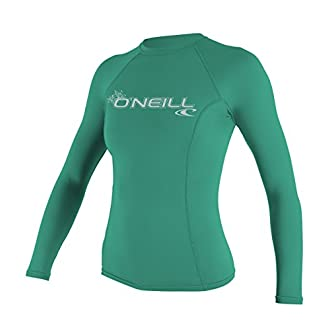 O'Neill UV 50+ Sun Protection Womens Basic Skins Long Sleeve Crew Sun Shirt Rash Guard, Seaglass, Medium