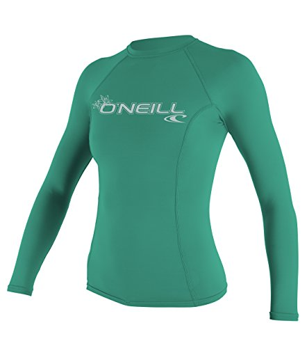 O'Neill UV 50+ Sun Protection Womens Basic Skins Long Sleeve Crew Sun Shirt Rash Guard, Seaglass, - Guard Crew Rash Long Sleeve