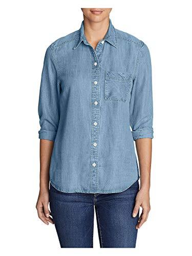 - Eddie Bauer Women's Tranquil Boyfriend Shirt - Indigo, Bleached Petite S