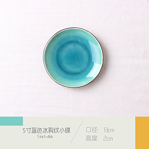 - Outside simple ceramic plate Western burdock salad fruit plate hotel restaurant coffee shop with tableware blue 13x2cm