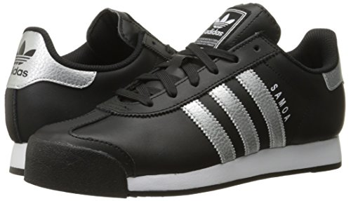 Adidas Originals Women's Samoa W Fashion Sneaker, Black/Metallic Silver/White, 11 M US
