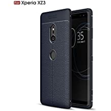 Sony Xperia XZ3 Case, Cruzerlite Flexible Slim Case with Leather Texture Grip Pattern and Shock Absorption TPU Cover for Sony Xperia XZ3 (Blue)