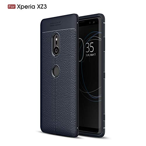 Cruzerlite Sony Xperia XZ3 Case, Cruzerlite Flexible Slim Case with Leather Texture Grip Pattern and Shock Absorption TPU Cover for Sony Xperia XZ3 (Blue)