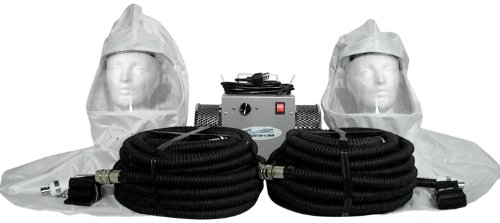 2-man Vinyl hood supplied air respirator w/50' air hoses by Breathe-Cool
