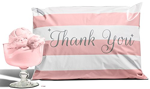 12.5x15 Pack of 50 Bubble Gum Reusable Poly Mailers Eco-Friendly Pink Thank You Double Use Seal Pull Tab Designer Boutique Durable a la -