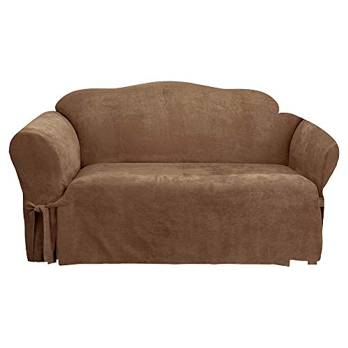 - SureFit Soft Suede 1-Piece - Sofa Slipcover - Brown Clay