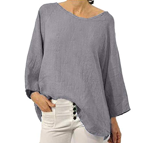 FEDULK Womens Plus Size Shirt Crew Neck Long Sleeve Summer Solid Loose Casual Blouse Tunic Tops(Gray, XXXX-Large)