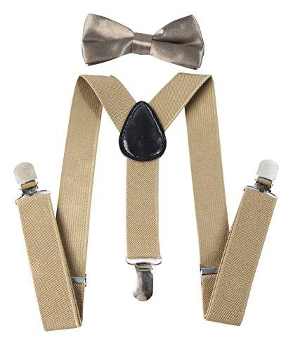 Keywin Baby Kids Boys Girls Toddler Suspender & Bow Tie Set Elastic Adjustable Strong Clip-on Suspender-Heavy Duty (Khaki)