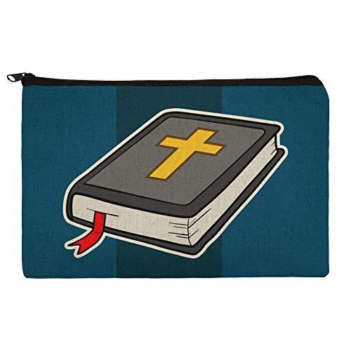 Bible with Cross Christian Religious Pencil Pen Organizer Zipper Pouch Case