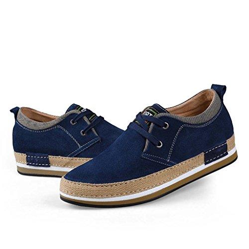 ZXCV Zapatos al aire libre Zapatos de los hombres de tamaño pequeño sigilo dentro del aumento de zapatos de moda casual zapatos de tablero de negocios hechos a mano Azul