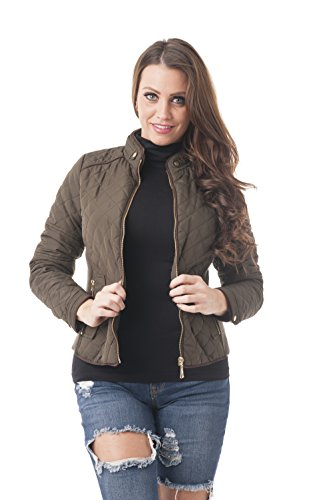 Khanomak Women's Quilted Padding Jacket with Suede Piping Detail (Medium, Olive) ()