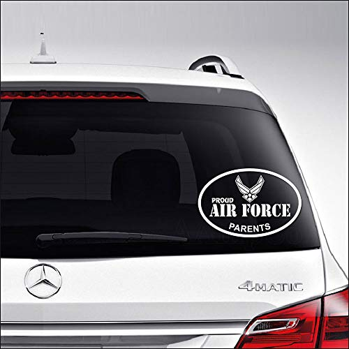 Aampco Decals Proud Air Force Parents Emblem Insignia Military Car Truck Motorcycle Windows Bumper Wall Decor Vinyl Decal Sticker Size- [6 inch/15 cm] Wide/Color- Matte White