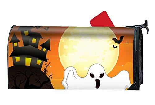 KSLIDS Halloween Flying Ghost and Pumpkin Custom Magnetic Mailbox Cover - Mailbox Makeover for Garden -