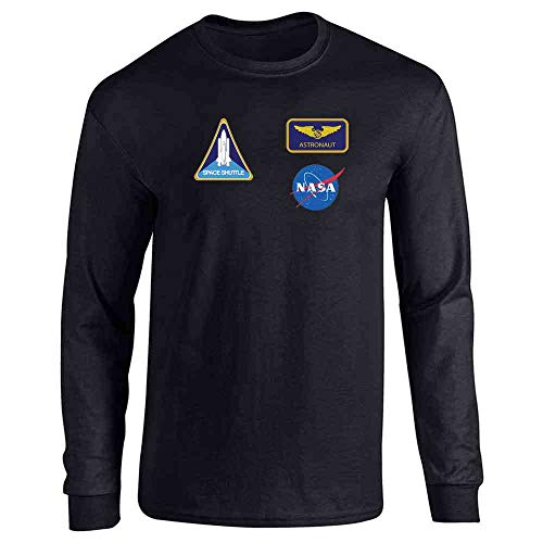 Pop Threads NASA Approved Astronaut Uniform Patches Costume Black L Long Sleeve T-Shirt -