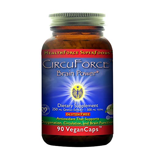 HealthForce SuperFoods CircuForce Brain Power - 250 mg Ginkgo Biloba, 90 Vegan Capsules - Brain Support Supplement, Promotes Clarity, Focus & Energy - Gluten Free - 90 Servings