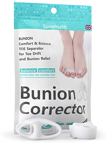 Bunion Corrector 2019 by Sunatoria - Hammer Toe Straightener for Right and Left Feet - Soft Gel Separators for Hallux Valgus Pain Relief - Bunion Pad Toe Protectors - Fast Orthopedic Aid