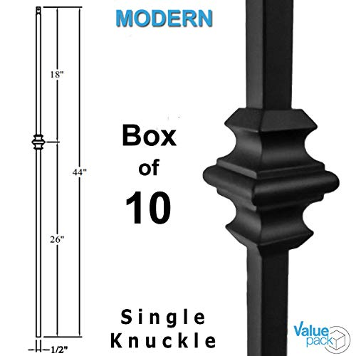 Railing Spindles (10-Pack) Hollow Single Knuckle Stair Balusters - Satin Black Iron Balusters 1/2
