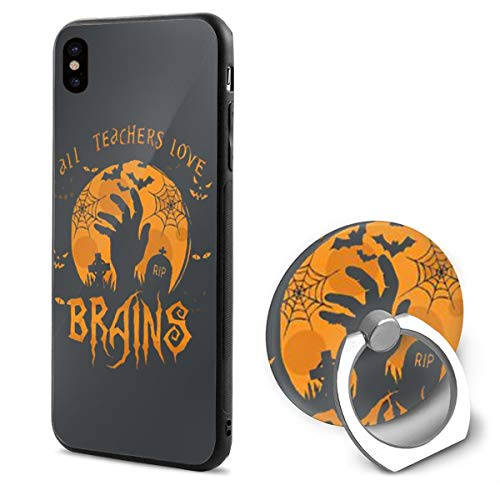 Rainbow Space All Teachers Love Brains Halloween 3D Case Shock Absorption Case with Soft TPU Gel Bumper for Apple iPhone X Mobile Phone Shell Ring Bracket ()