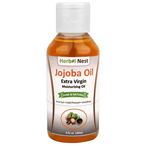 Pure Jojoba Oil, First Cut, Unrefined and Cold Pressed - 4 oz. Extra virgin moisturizing oil with a slightly nutty smell for dry or sensitive skin, anti-dandruff, makeup remover & - Extract Perfume Black