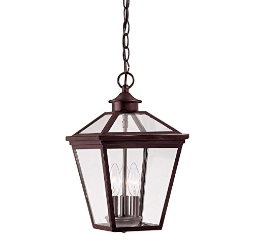 Finish English Bronze (Savoy House 5-146-13 Outdoor Pendant with Clear Shades, English Bronze Finish)
