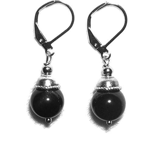 BLACK OBSIDIAN Earrings GENUINE SEMI PRECIOUS GEMSTONE Metaphysical NEGATIVITY PROTECTION And TRUTH PROPHECY Silver Plt Leverbacks