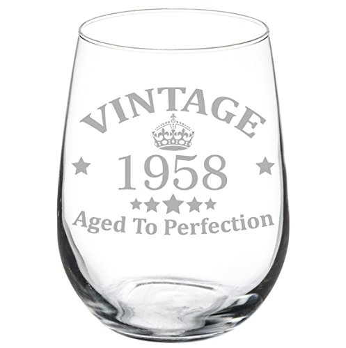 Wine Glass Goblet 60th Birthday Vintage Aged To Perfection 1958 (17 oz Stemless)