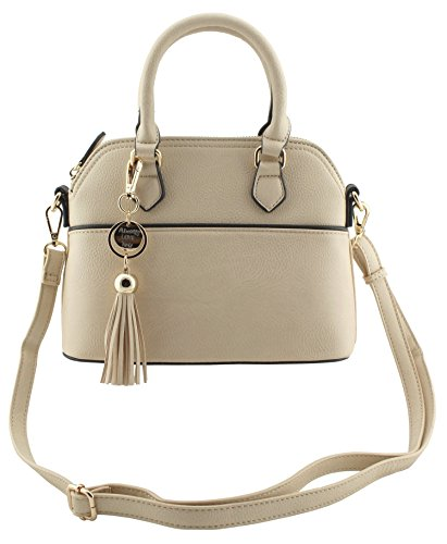 Amy&Joey faux leather mini dome satchel shape cross body handbags with removable tassels charm detail (WHEAT)
