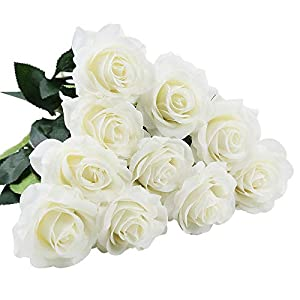 IPOPU Artificial Flowers, 10pcs Silk Moisturizing Real Touch Rose Fake Flower Bridal Wedding Bouquet for Home,Office,Garden,Party,Wedding Decoration Floral Decor, White 38