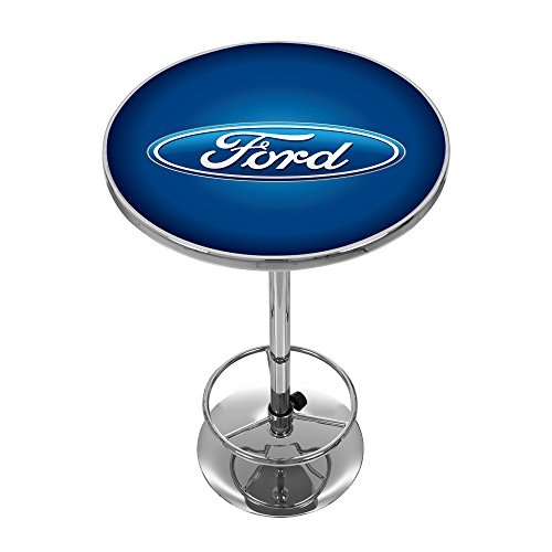 Trademark Gameroom Ford Chrome Pub Table - Ford Oval - Oval Pub Table
