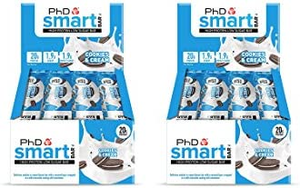 PhD Smart Bar High Protein Low Carb Bar, Cookies & Cream, 2er Pack (2 x 12 Stück) 24 bars x 64 g