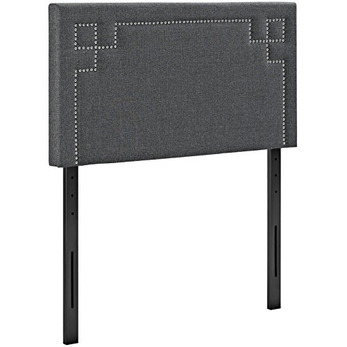 Modway Josie Upholstered Fabric Headboard Twin Size With Nailhead Accents In Gray by Modway