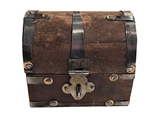 (NAI Wooden Pirates Treasure Chest/Box-Wood Trinket,Stash,Jewelry Box 3.25