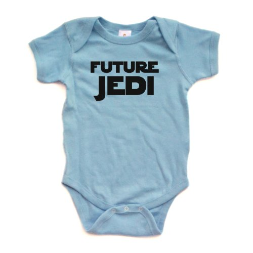Apericots Adorable Future Jedi Soft and Comfy Cute Baby Short Sleeve Cotton Infant Bodysuit (Newborn, Light Blue) ()