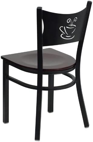 Flash Furniture HERCULES Series Black Coffee Back Metal Restaurant Chair – Mahogany Wood Seat
