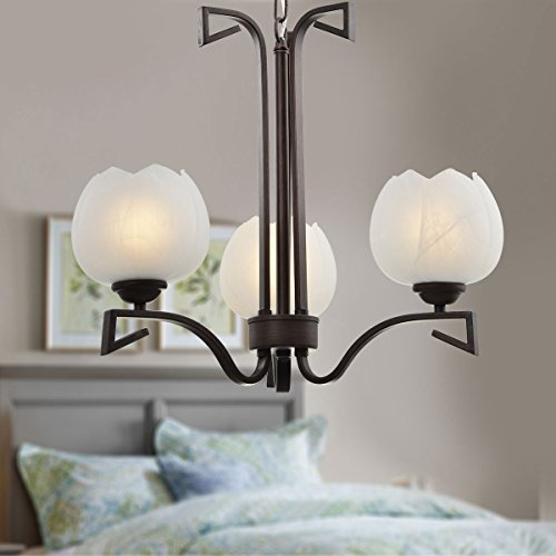 3-Light Bronze Iron Modern Chandelier with Glass Shades (A-HKP31255-3) ()
