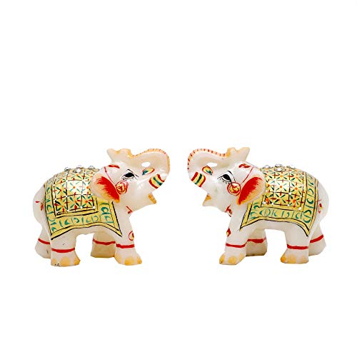 Aapno Craft Decorative Elephant Statue for Home Decor   Designer Marble Showpiece Elephants Pair with Golden Meenakari Work for Decoration and Pooja for Home & Office (Multicolor, 2×2.5 Inch)