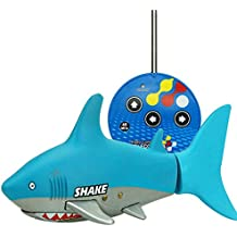 RedDhong Mini Remote Control Shark Fish Coke Can Toy Electric RC Fish Boat Shark Swim in Water for Children(Light blue)