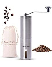 Henry Charles Manual Coffee Grinder with Adjustable Bean Grind Size & Travel Bag - Coffee Grinder with Hand Crank Mill - Ideal for Fresh Espresso at Home, in The Office, or for Travelling