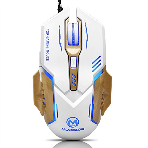413T3W4KCcL - EIMELI Gaming Mouse with 4 Color Changeable LED Light, 3200 DPI (4 Adjustable DPI Level), 6 Buttons, Ergonomic Design, Comfortable Grips