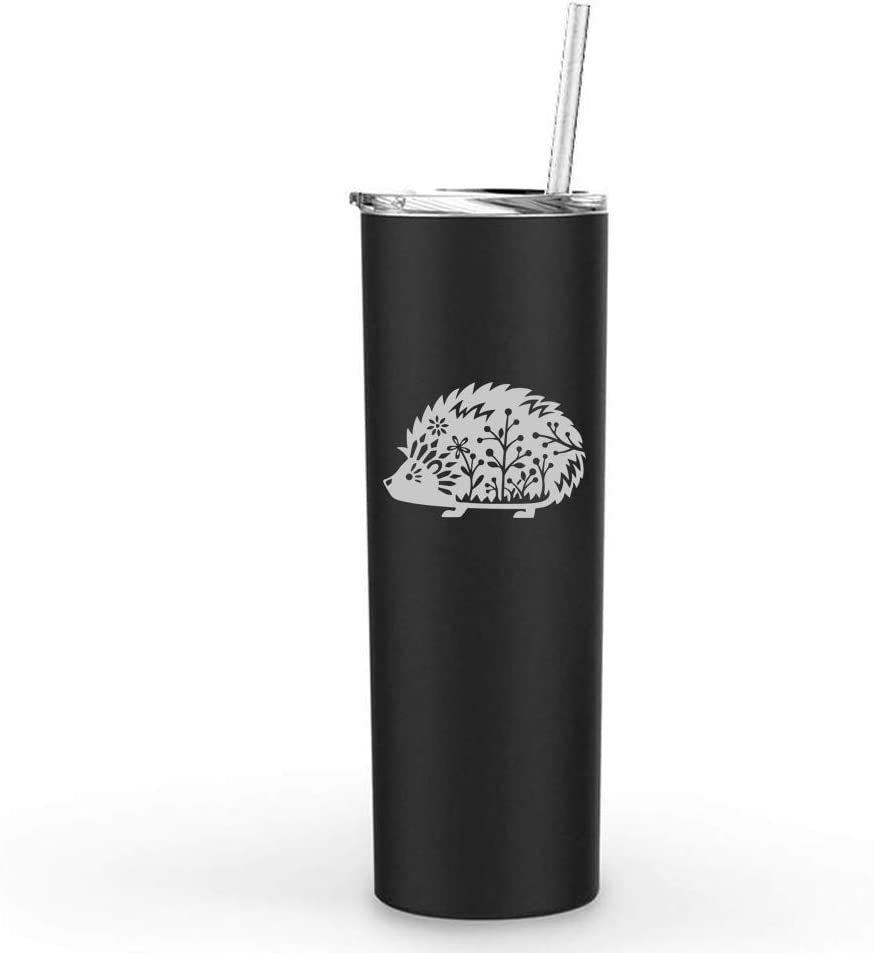 20 oz Skinny Tall Tumbler Stainless Steel Vacuum Insulated Travel Mug With Straw Fancy Hedgehog (Black)