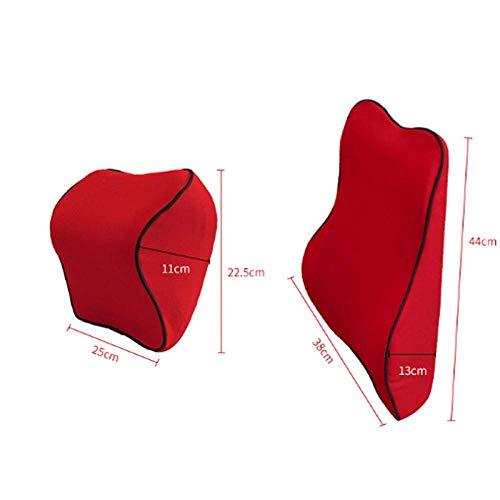 DXX Soporte lumbar Cojin Almohada Asiento de coche Reposacabezas Cojin lumbar Soporte para cuello Memoria Ergonomia Auto Four Seasons Universal Rojo