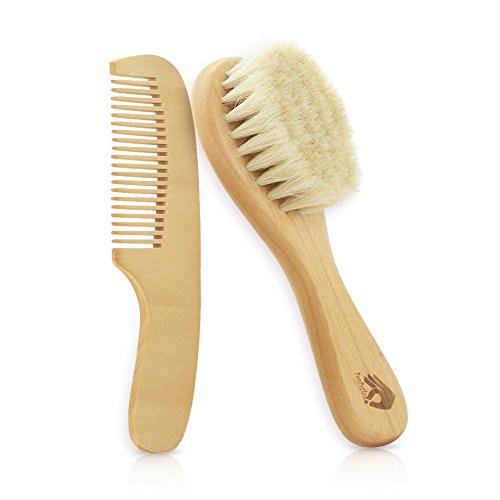 PomPerfect Organic Soft Goat Hair Newborn Baby Brush | Natural Eco-Friendly Wood Handle | Bonus Wooden Cutie Comb