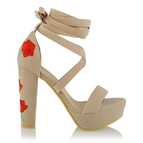 ESSEX GLAM Womens Lace Up Platform Embroidered Nude Faux Suede Block High Heel Peep Toe Sandal Shoes 5 B(M) ()