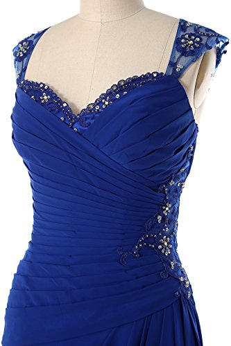 Formal Steel Mother Bride Gown of Cap Sleeves Party Back Dress Women Blue MACloth Open Long IYPnxAO