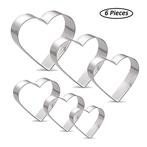 Heart Shape Cookie Cutter Set - 6 Pieces Stainless Steel Biscuit Pastry ()