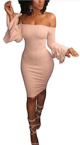 L'épaule De La Manche De La Torche Des Femmes Cromoncent Solide Sexy Robe Fourreau Crayon Clubwear Rose
