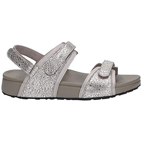 JOYA Womens Amalfi Leather Silver Sandals 7.5 US